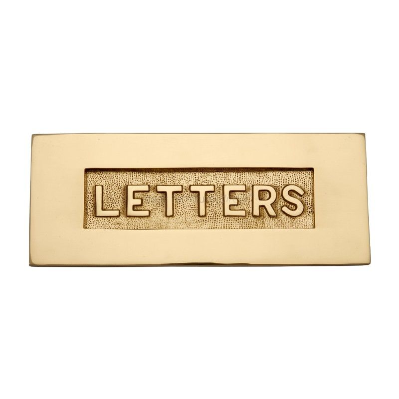 Front Door Letterbox: Polished Brass Letter Box 10x4in (254x101mm) With Raised