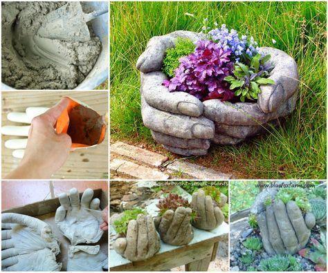 Mano de cemento para jardín #cocinasmodernascemento Plantas