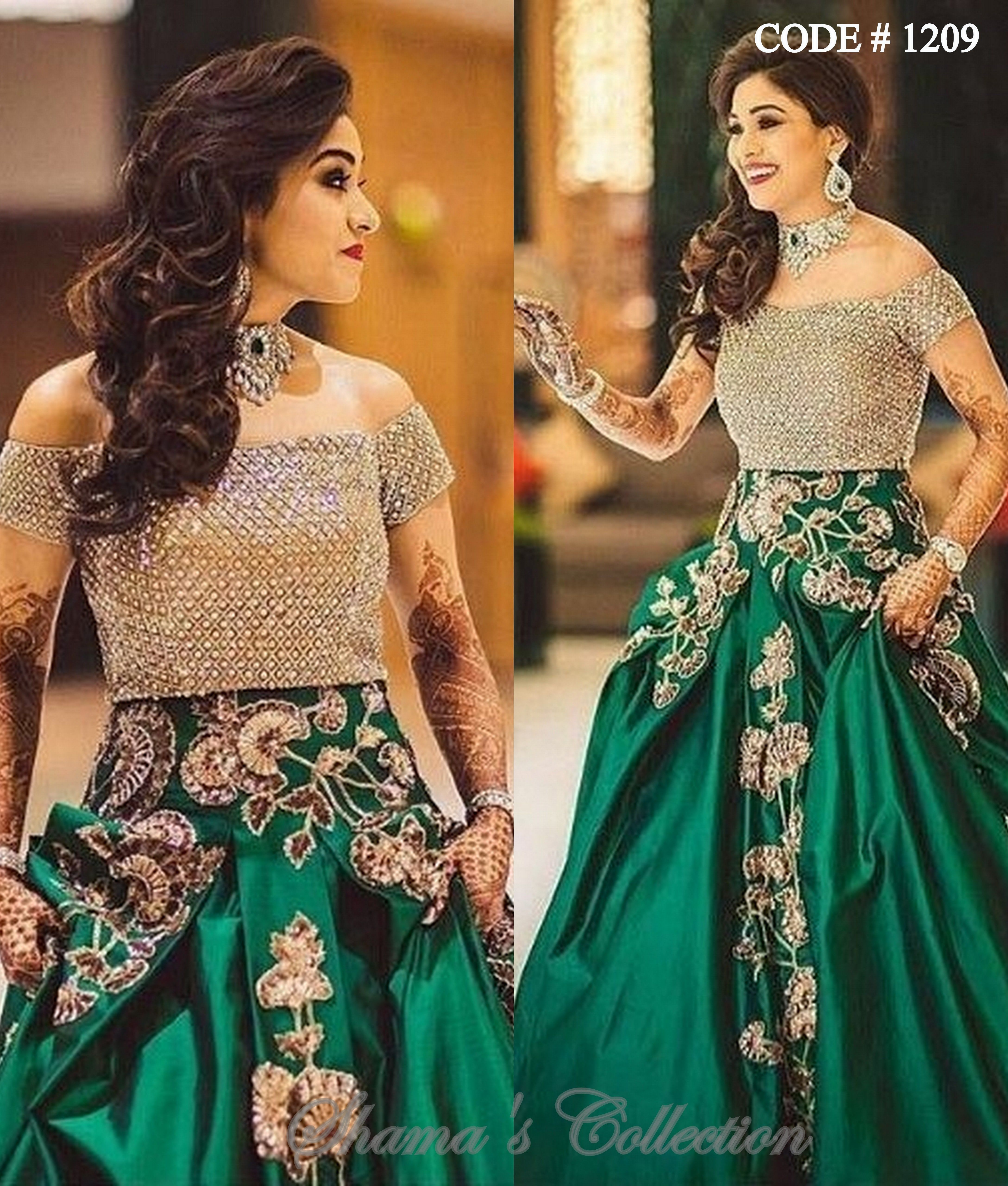 1209 Green Lengha With Golden Offshoulder Blouse Indian Wedding