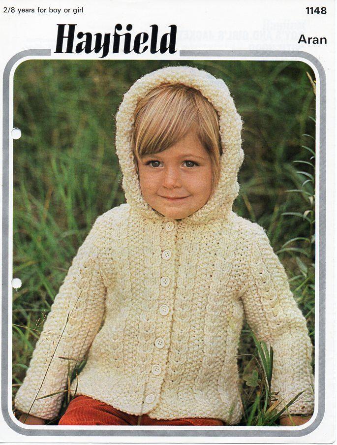 Vintage childs / childrens aran jacket with hood knitting pattern ...