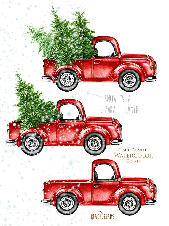 Watercolor Christmas Truck Vintage Red Pickup Pine Tree Retro Car Hand Painted Clipart Snow Santa New Year Decoration Greeting Card Christmas Watercolor Christmas Paintings Christmas Drawing