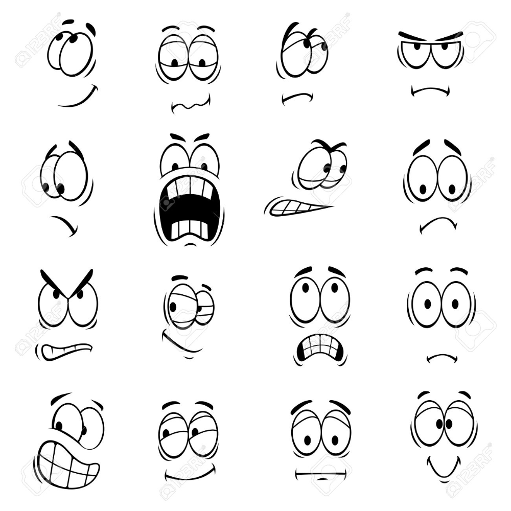 Free Emoticons Big Eye With Face Emoticons Icons Set Cartoon Faces Human Face Drawing Cartoon Drawings