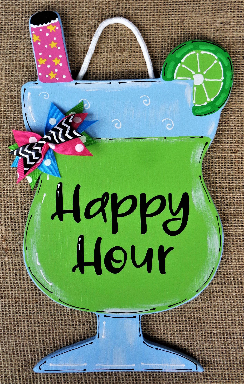 Photo of Happy Hour TROPISK DRIKKSIGNEL Sesongmurt veggplak Hjem Familiedekk Dekk Patio Dør Sommer Håndlagd Håndmalt tre Tredørhenger