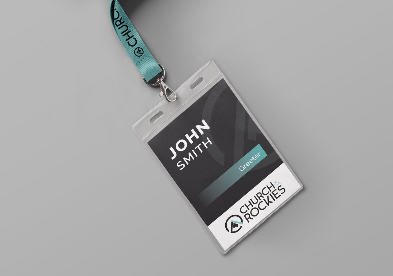 church brand collateral, lanyard name badge design, church