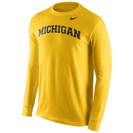 1a245892 Nike University of Michigan Yellow Long Sleeve Basic Tee | Christmas ...