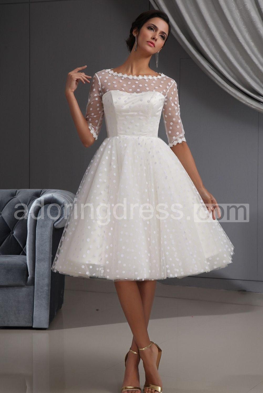 I Like This Do You Think Should Buy It Short Dresses Formal: Midi Wedding Dress Illusion At Reisefeber.org