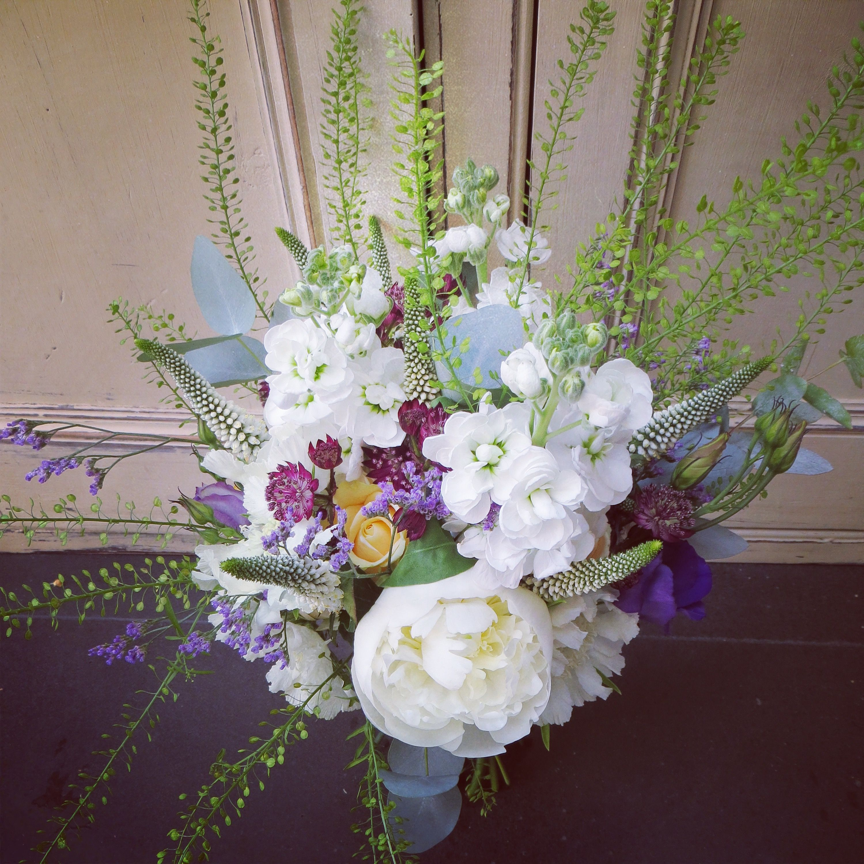 Peonies, thlaspi, astrantia, stocks and roses. #rusticbouquet #wildbouquet