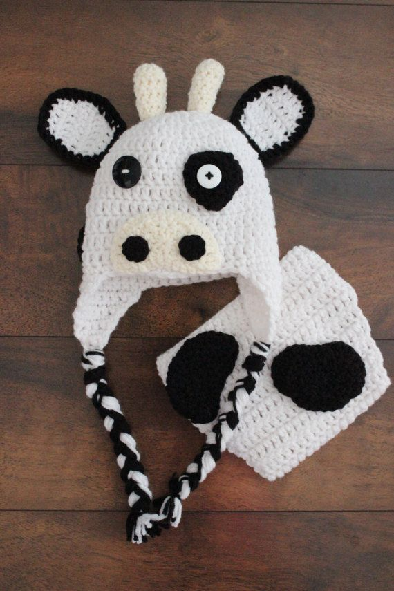 Crochet Cow Hat and Diaper Cover Baby Crochet by StitchinPrincess ... 0996913c3e8