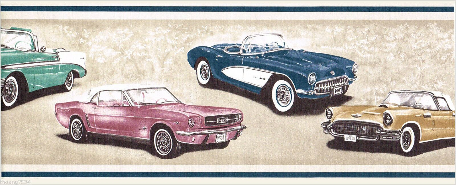 Vintage Classic Car Chevy Corvette Ford Thunderbird Mustang Wall Paper Border For Sale Online Classic Cars Chevy Classic Cars Vintage Thunderbird Car