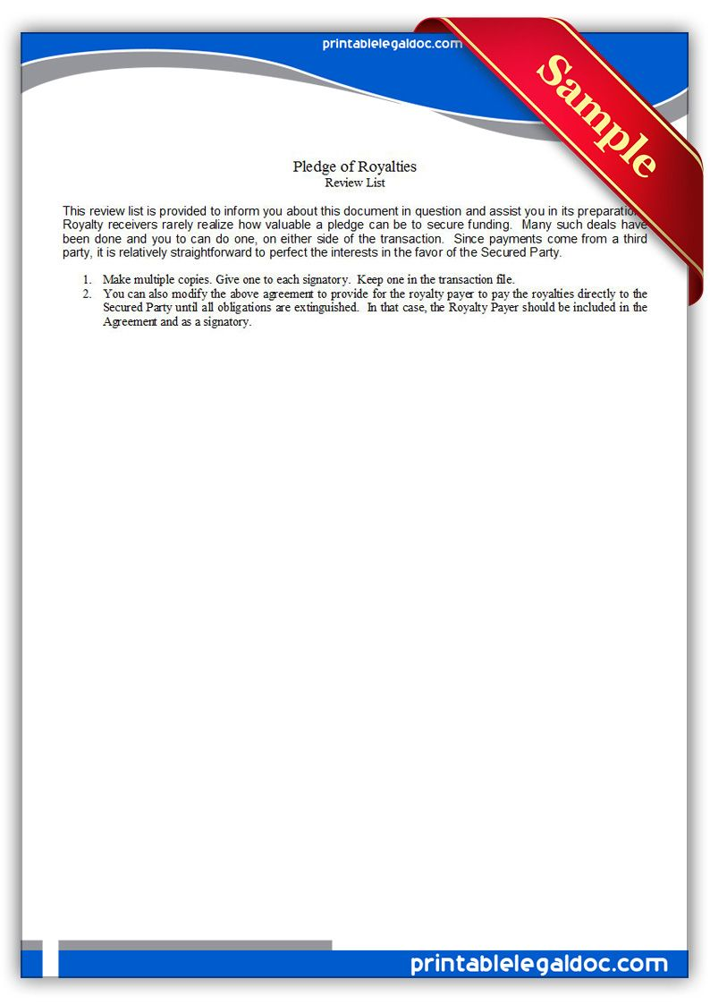 Free Printable Pledge Of Royalties Form Generic With Images