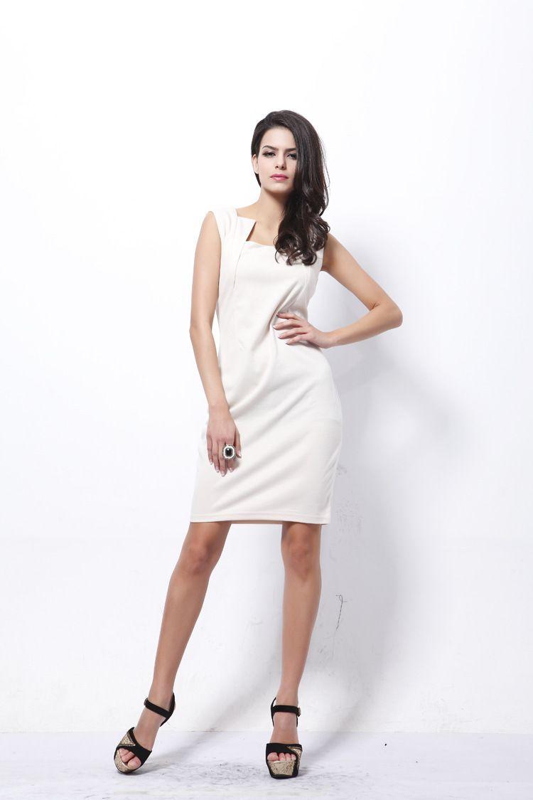 Hot new European and American sleeveless dress OL temperament Slim