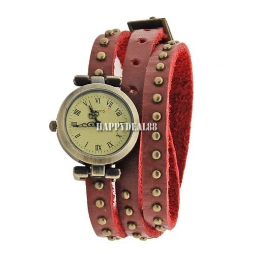 Woman Classic Roma Number Dial Quartz Classic Leather Strap Watch - $16