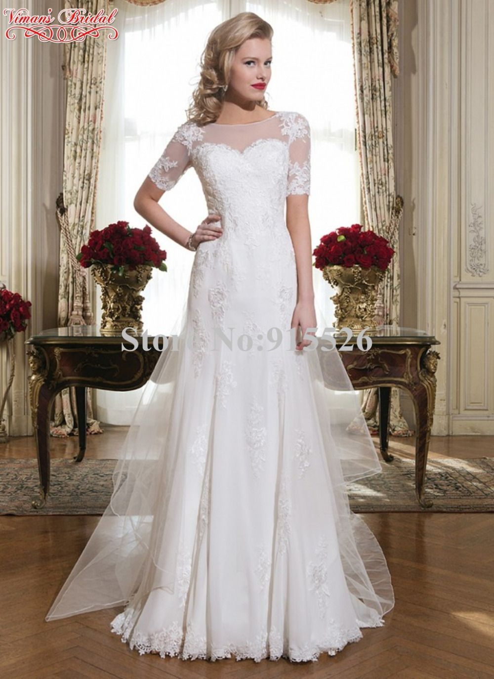 Click to buy ucuc white robe de novia de renda appliques lace scoop