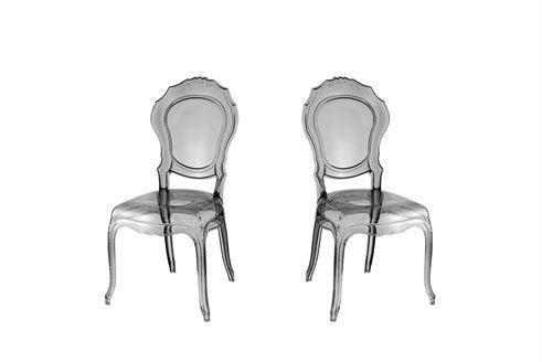 2 chaises Royale Fumé transparent baroque Pinterest