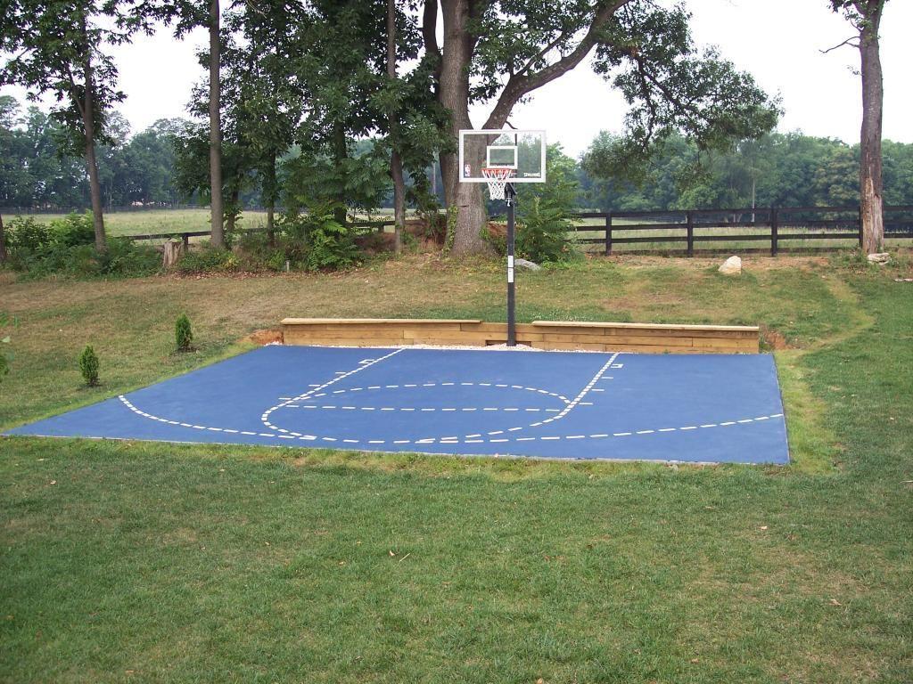 Backyard Basketball Court Bench At Base Of Court Basketball