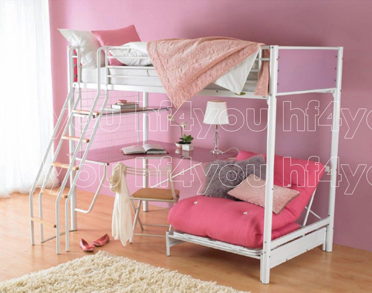 Hyder Living Cosmic Blanc White Metal Bunk Bed - why not treat your little girl to a bed fit for a princess! With room for another little princess to stay the night too. #princessbedroom #girlsbedroom