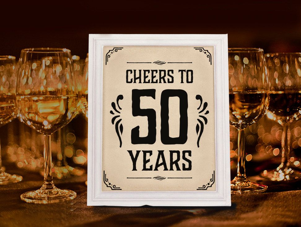 Cheers to 50 years sign Printable 50th birthday decor Birthday