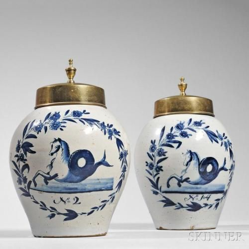 Pair of Blue and White Delft Snuff Jars, 18th century, with seahorse inside a…
