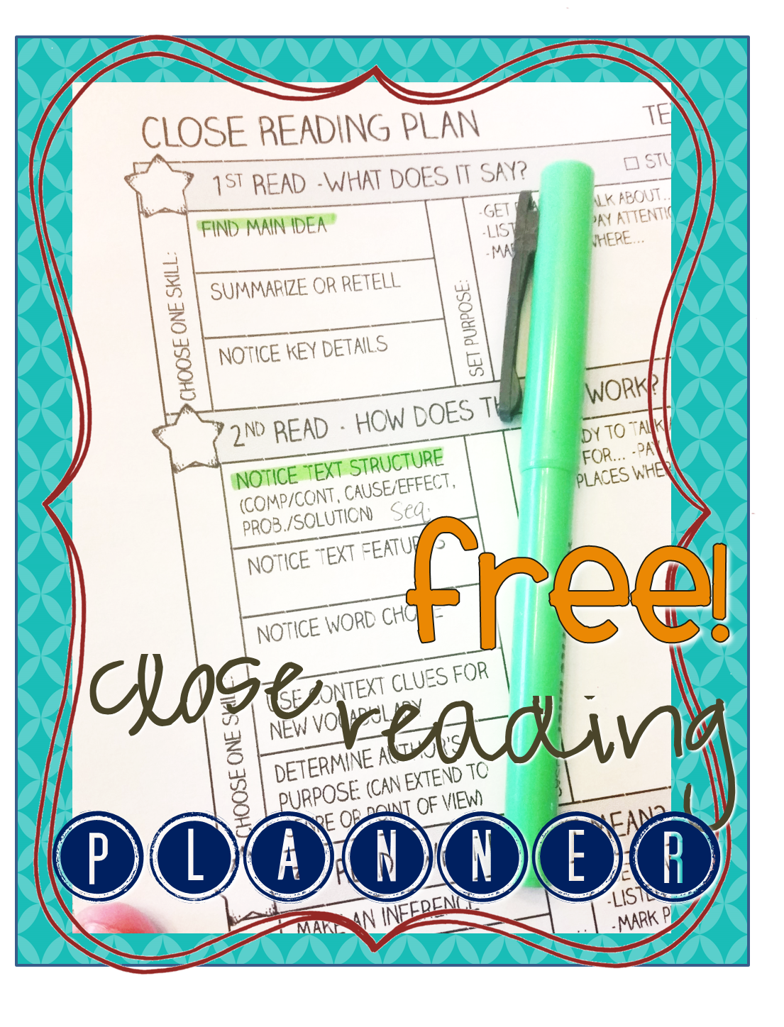 Free Close Reading Planning Page Works For Any Text