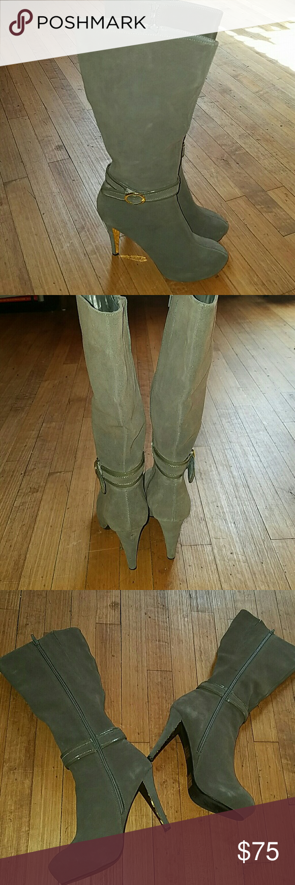 Grey Suede Boots These boots are made for walking?? and being super fashionable too....they are great quality and in great condition(worn once for only a few hours) the material is suede with gold accents on the buckle and on the heel.  There is a platform in the sole and a zipper on the inside of the boot to make them easy to get on Wild Pair Shoes