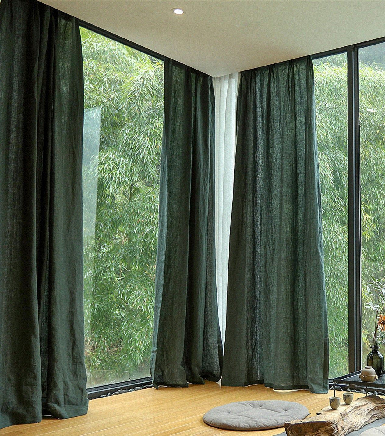Cutsom Pure Linen Curtains Dark Green Farmhouse Decor Curtain