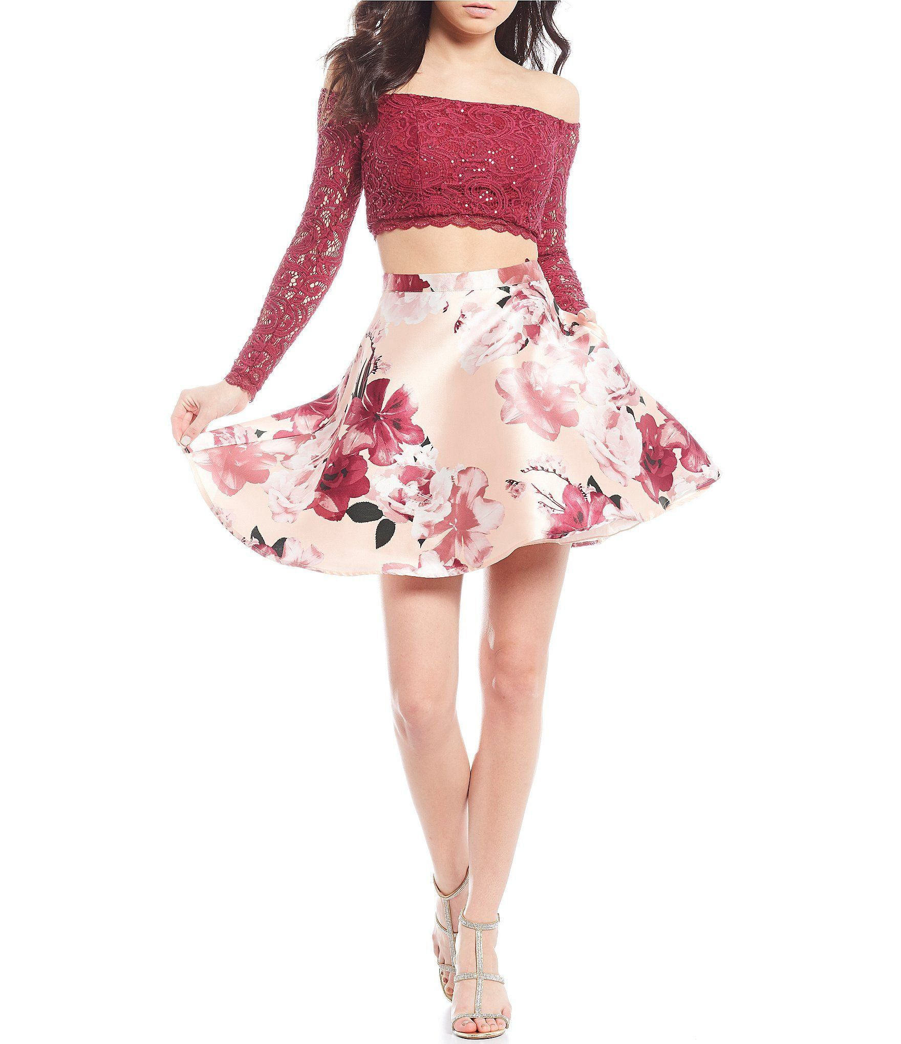 Sequin Hearts Off The Shoulder Lace Top With Floral Skirt Two Piece Dress Barhb Blush 9 1000 Two Piece Dress Piece Dress Cute Prom Dresses [ 2040 x 1760 Pixel ]