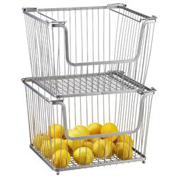 The Container Store > Large York Open Stack Basket. Think I'll stack a few of these for my fruits and Veggies