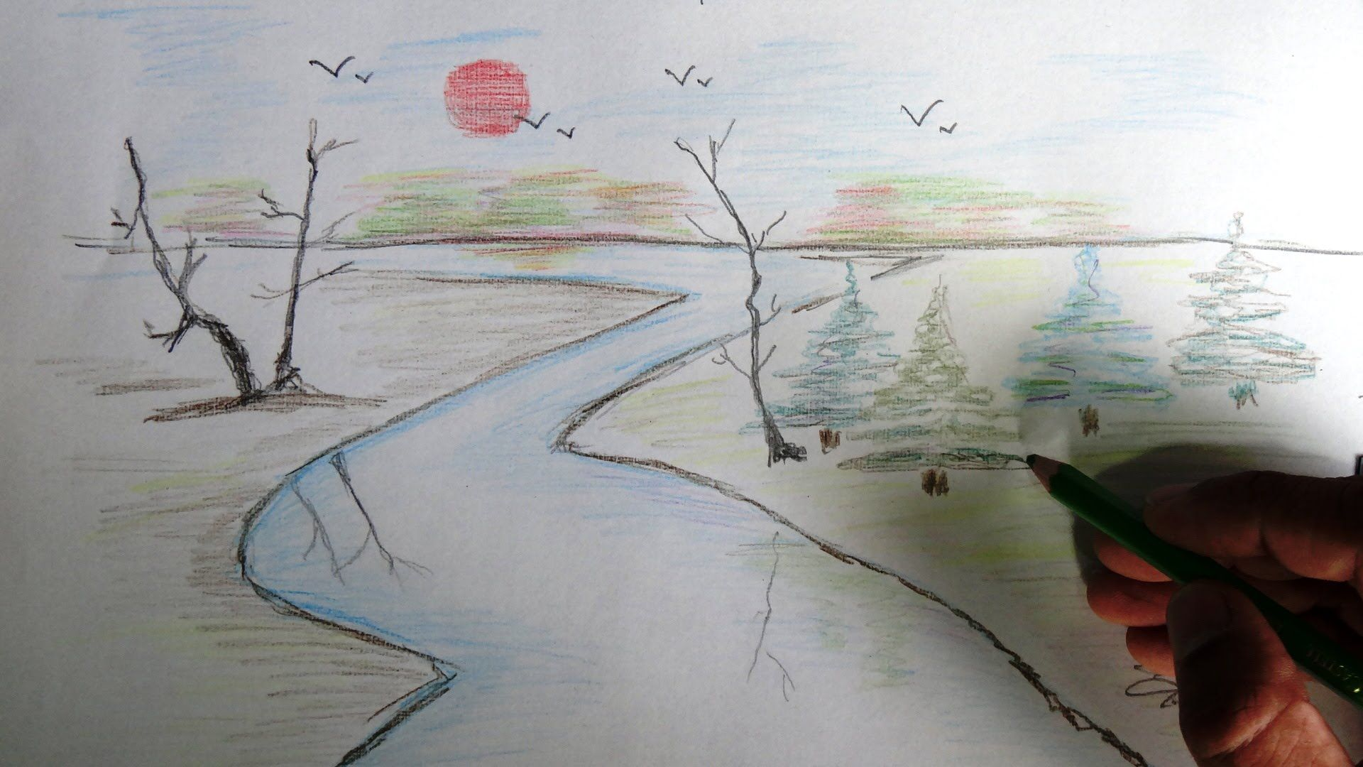 How to draw a scenery color pencil drawing