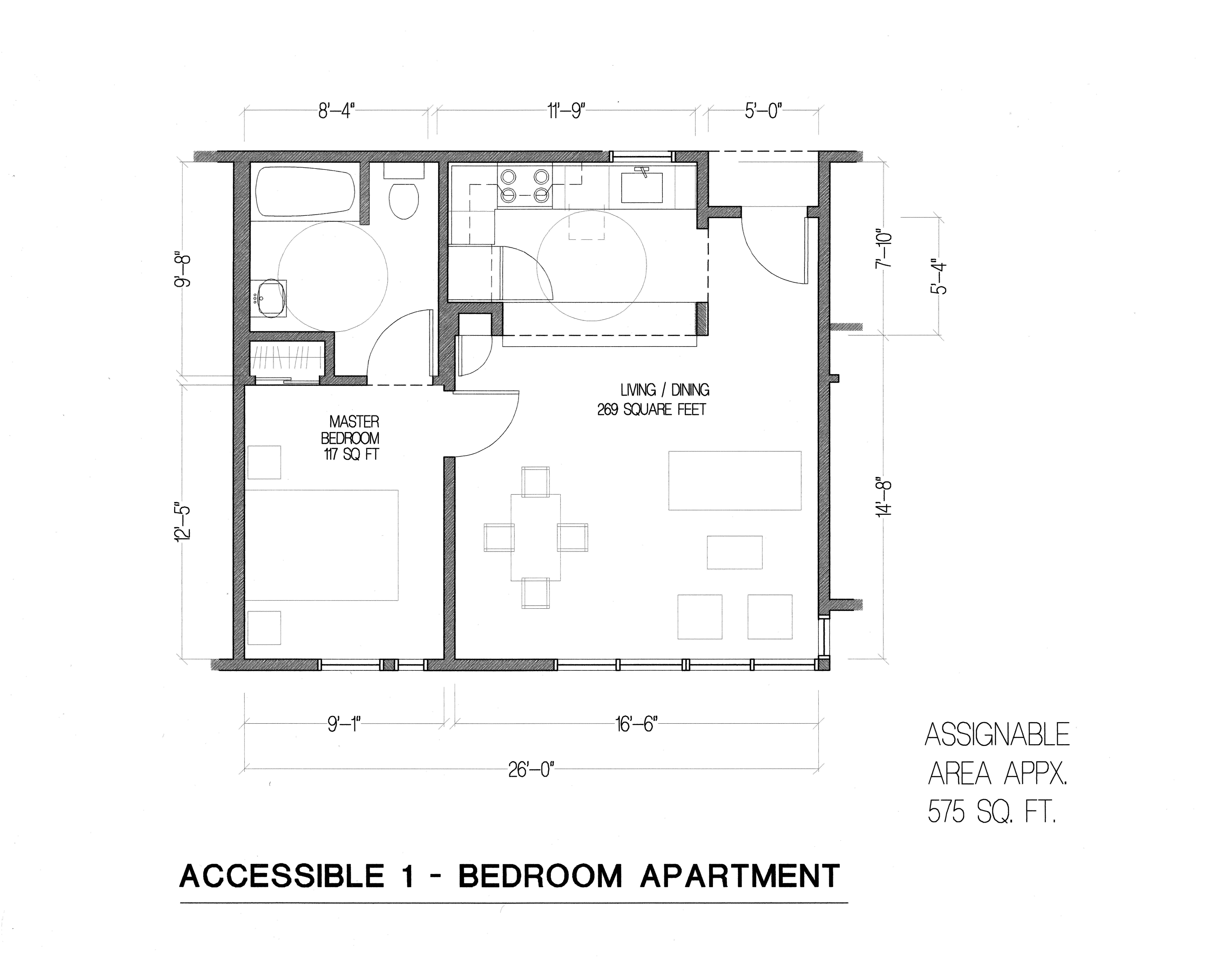 Aldea 1 bedroom floor plan ada unit aldea san miguel for Ada bedroom
