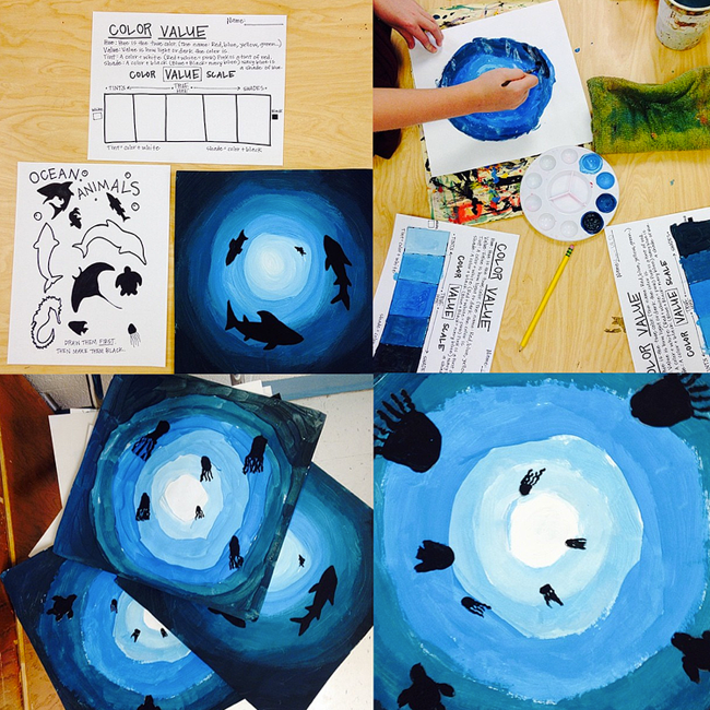Teach and Shoot: ocean animals, color value project