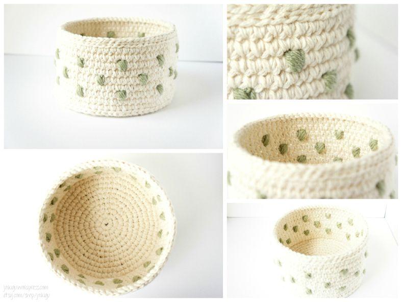 work in progress: polka dot basket   Verde, Ganchillo crochet y Trapillo