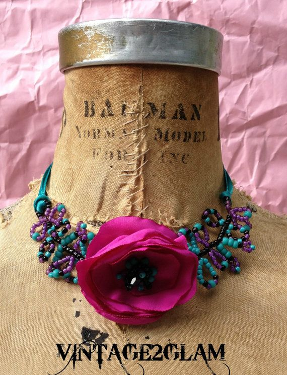 My pretty vintage fabric flower necklace which by VINTAGE2GLAM, $50.00