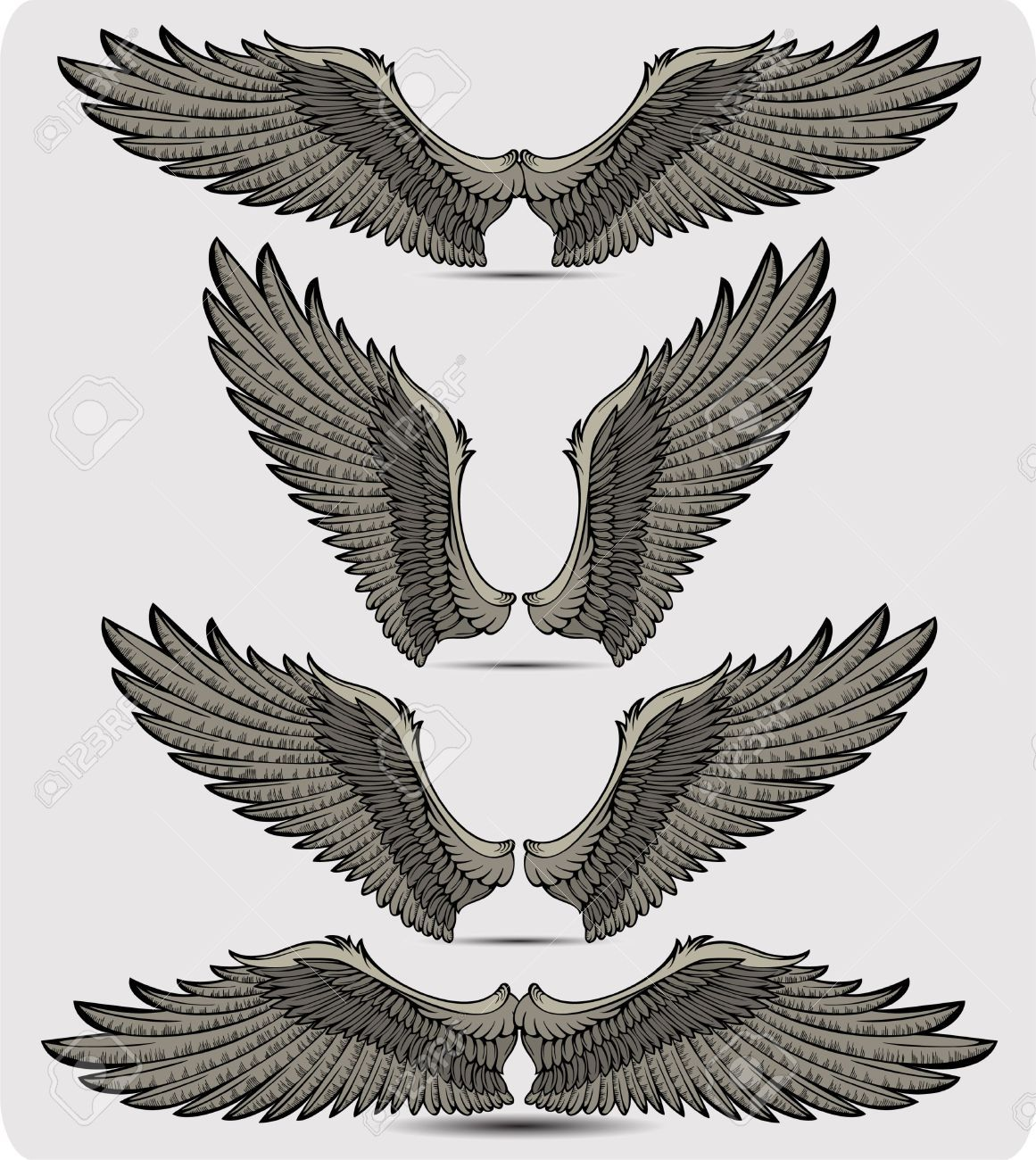 Wings Set Eagle Wing Tattoos Wings Tattoo Wing Tattoo Designs