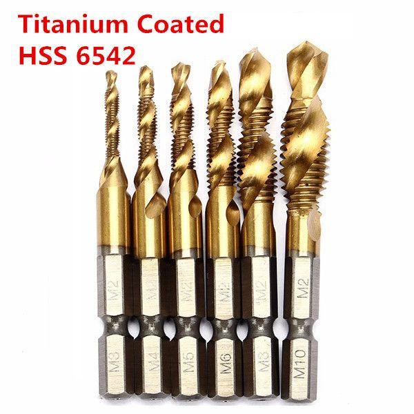 "1//4/""HSS Hex Shank Titanium Plated Screw Thread Tap Combination Bit Set Kit 6PCS"