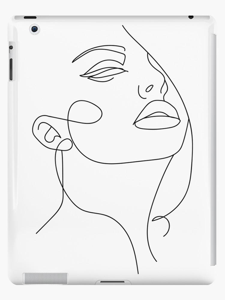 "Photo of ""Sketch Art Woman In One Line"" iPad-Hülle / Skin von Valeria-Art Abstract Art A…"