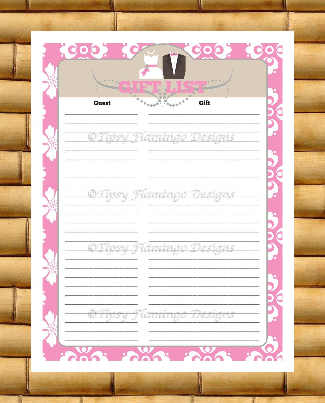 Gift List, Wedding Shower, Record, Gift Registry, Bride
