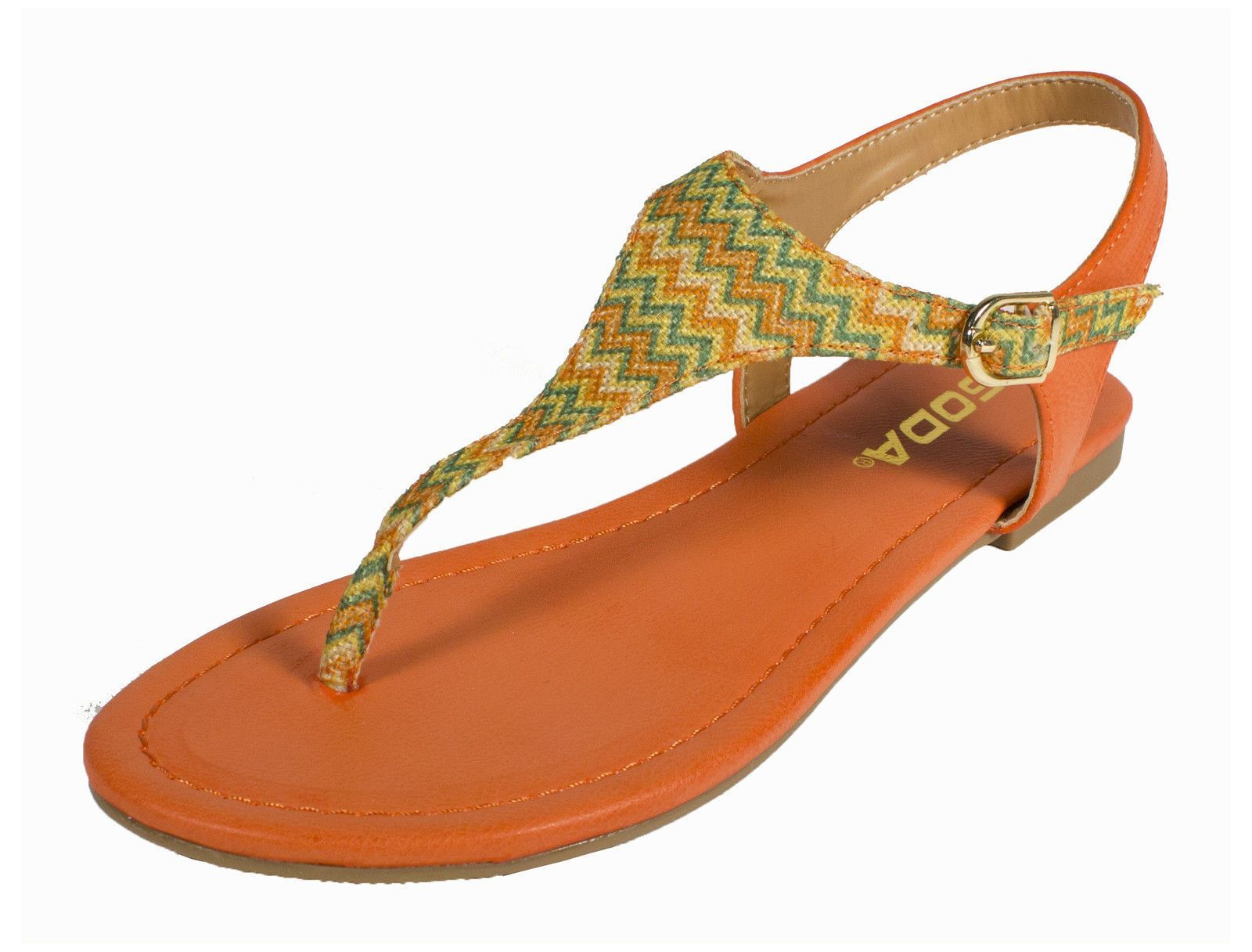 aaf0c73418490 Soda Woven T-Strap Thong Flat Sandal Orange Leather Multi Color T-Strap