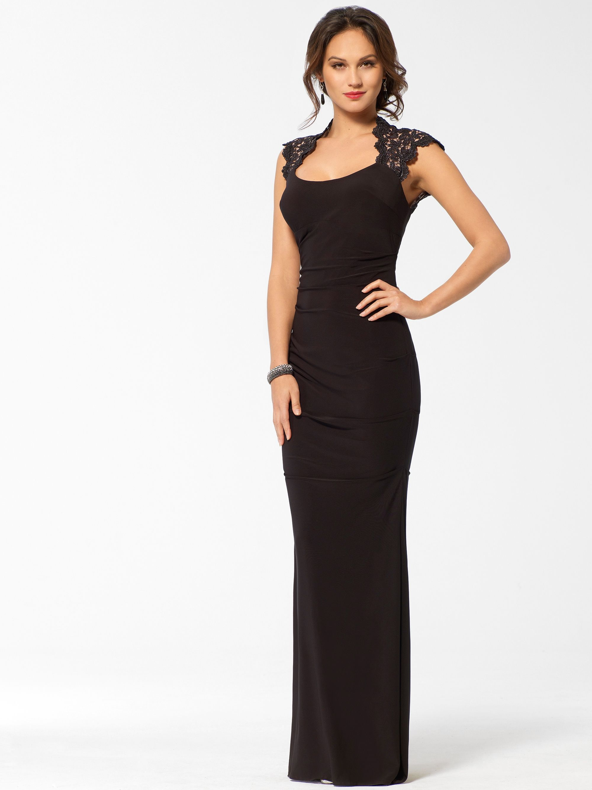 Black Metallic Lace Ruched Gown #W8010B22005210 By: Cache   Black ...