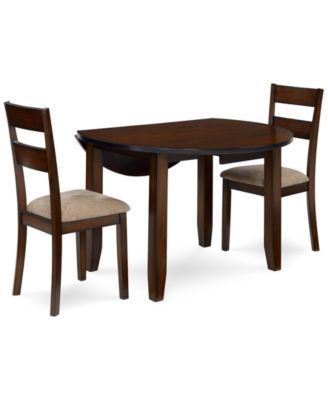 Branton Round 3 Piece Set Table 2 Chairs Furniture Leather