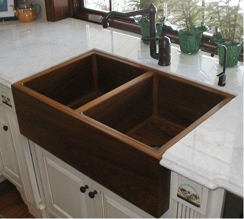 Wooden Kitchen Sink Would Look Awesome With Copper Counters