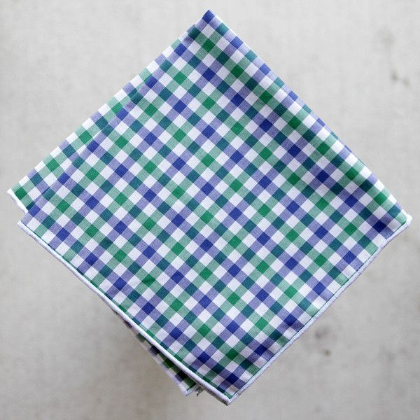 "Green/Blue/White Gingham $32 // Pocket square handmade in Austin using last-call fabric from Hamilton Shirts. Cotton. White stitch. 12"" x 12"""