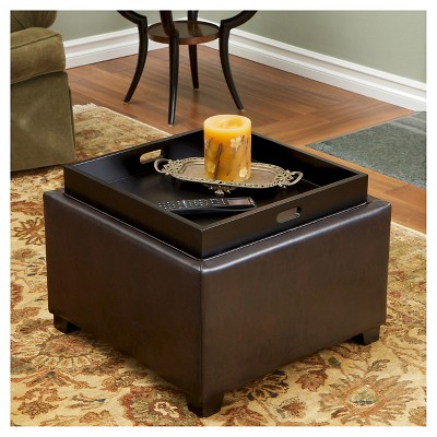 Andrea Leather Tray Top Storage Ottoman Brown Christopher Knight