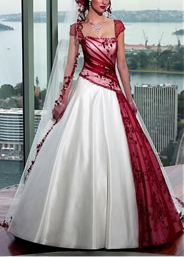 A Line Skirt Wedding Gown Red White Wedding Dress Red Wedding Dresses White Wedding Dresses