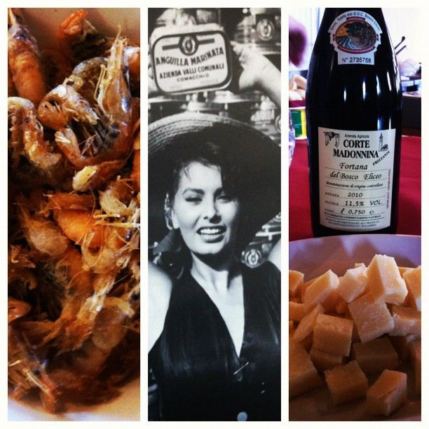 Snacking on shrimp & anchovies at the Eel Factory in Comacchio. Yes, Sophia Loren is here - Instagram by @AngieAway