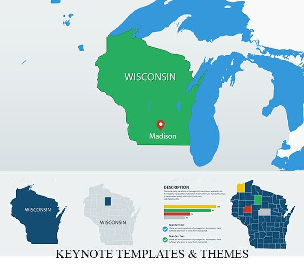 Wisconsin USA Keynote maps in 2019 | Keynote Maps ...