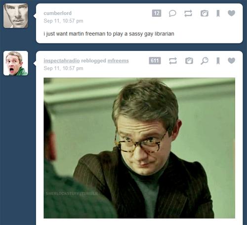 (tags: Martin Freeman, sassy gay librarian) Martin Freeman's true profession... too funny!