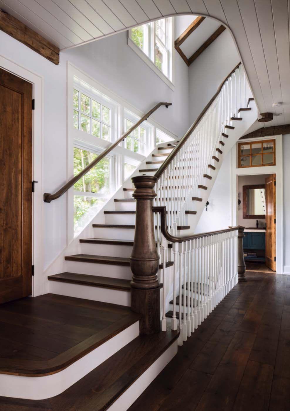 A Gorgeous Farmhouse Style Home On Big Cedar Lake Barn House Design Farmhouse Style House Farmhouse Staircase