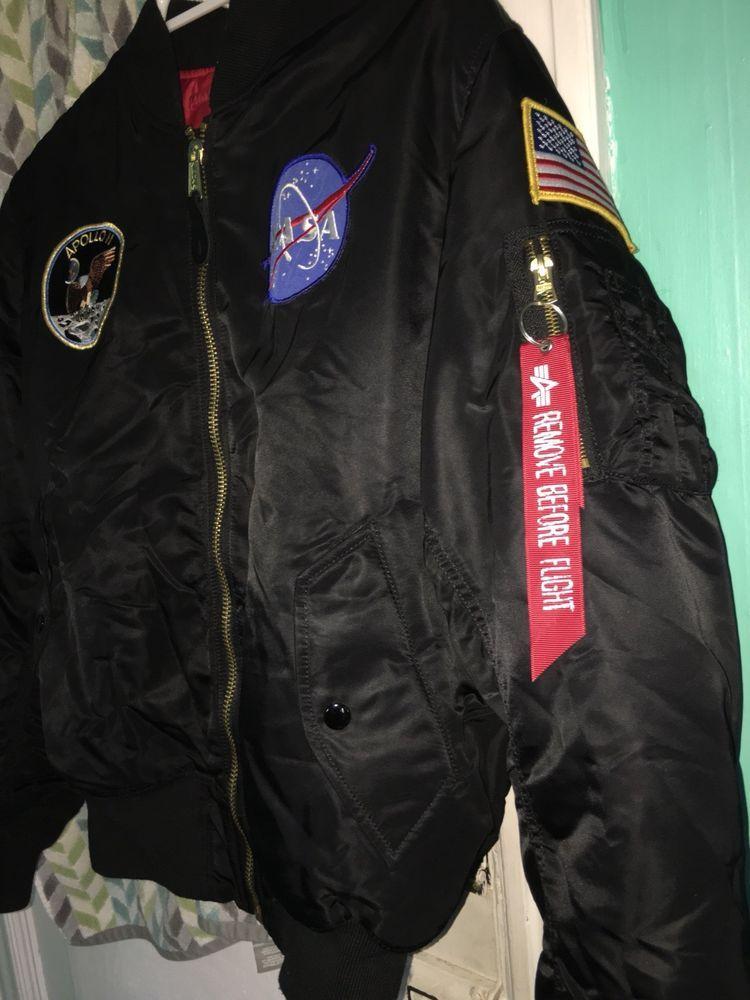 Men s Thick Jacket US NASA Warm Winter MA1 Flight Bomber Coat ... 4e53a05df