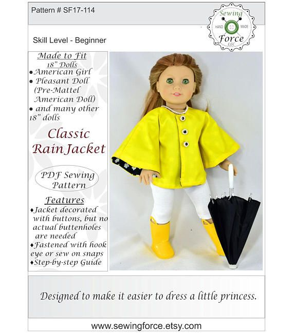 Classic Rain Jacket PDF sewing pattern for 18 inch Doll like ...