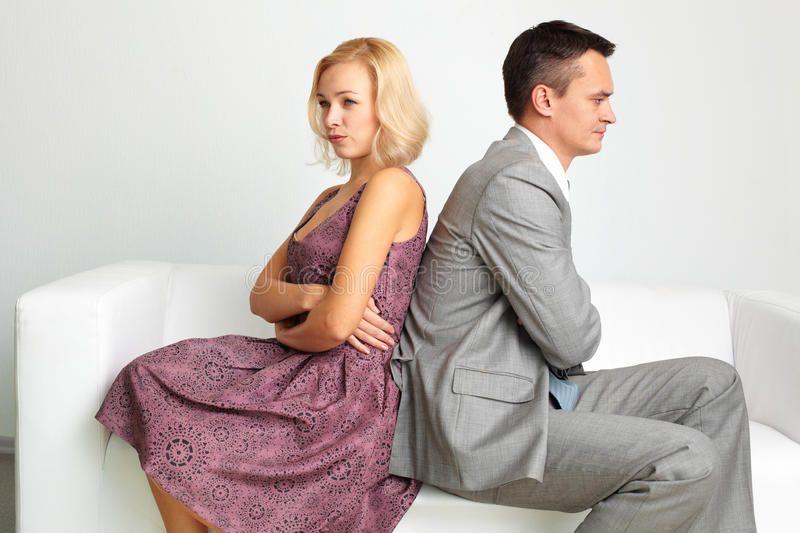 Break-up. Unhappy couple going through break-up ,